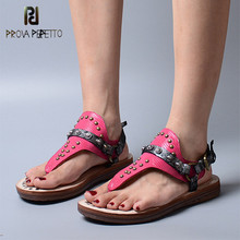 Prova Perfetto Concise Comfortable Loose Woman Non-Slip Buckle Easy To Wear Solid Color Soft Sole Wear-Resisting Flat Sandals(China)