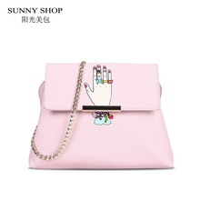 SUNNY SHOP Cute Cartoon Finger With Crystal Handbags Sweet Small Shoulder Bags Women Chain Bag Kawaii Pink Girls Messenger Bag(China)