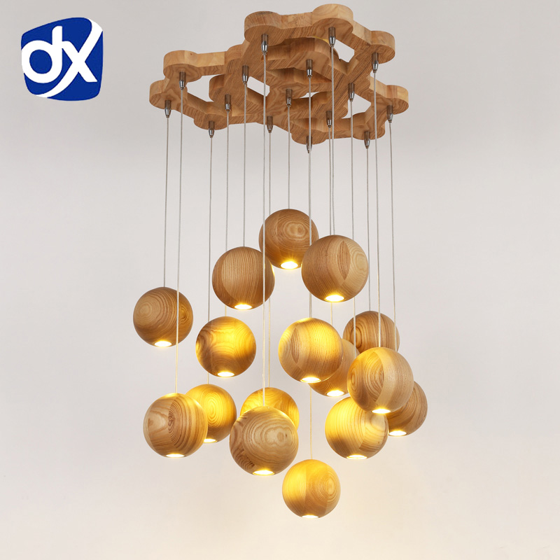 Wooden pendant light Chinese Nordic creative minimalist living room wood ball wooden pendant lamp Dining Room Lamp<br>