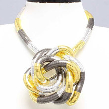 Manufacture 5mm 90cm Silver&Gold&Black Plated Iron Bendable Flexible Bendy Snake Necklace,10pcs/pack(China)