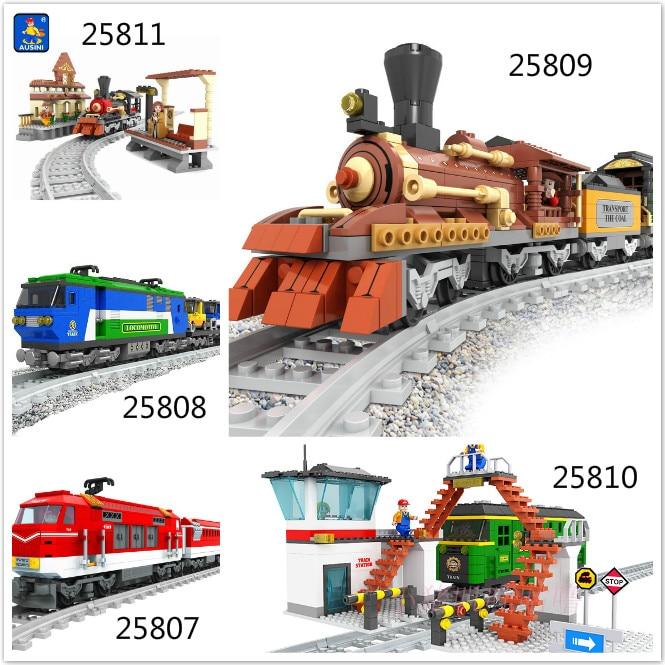 Model building kits compatible with lego ausini train succession2 3D blocks Educational model building toys hobbies for children<br>
