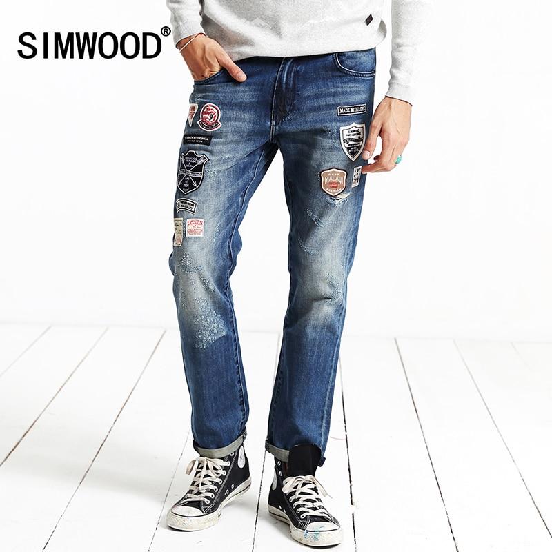 SIMWOOD Brand Clothing 2017 New Autumn Winter Patchwork Print Biker  Skinny  Robin Jeans Men Denim Pants  SJ6056Îäåæäà è àêñåññóàðû<br><br>
