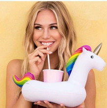 1 pc 20*30 cm Summer Unicorn Inflatable Cup Holder Drink Floating  Party Beverage Boats Phone Stand Holder Pool Toys for Weeding