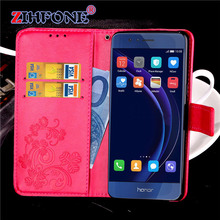 For Huawei Honor 8 Case Luxury PU Leather Flip Wallet Case Cover Cell Phone Back Cover With Card Holder + Free Shipping