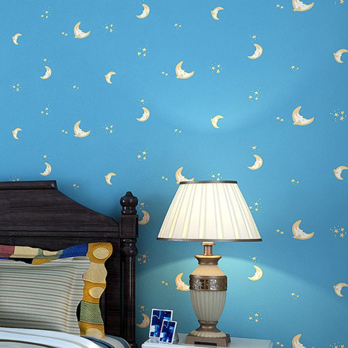 Cute Moon Star Kids Room Mural Wallpaper DZK147 papel de parede infantilGirls and boys  para quarto<br>