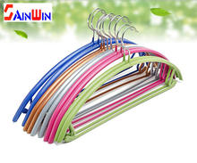 Sainwin 10pcs/lot 43cm Stainless Steel hangers for clothes slip-resistant half round shoulder clothes rack(China)