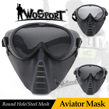 WoSporT Full Face Paintball Masks Tactical Military Mask with Steel Net Mesh Goggle Outdoor Hunting Paintball Accessories