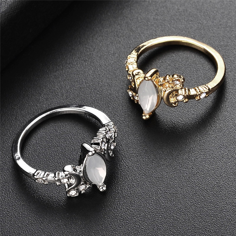 Bohemia Moon White Opal Ring Gold Engagement Wedding Rings For Women Thin Moon Ring Jewelry Trendy Design