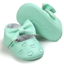 Mint Green Baby Shoes Princess Bow Girl Baby Toddler Shoes Casual Soft Non-slip Newborn Shoes First Walker(China)