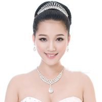 New design elegant clear crystal Beauty Women crown hairpins Fashion Charming Silver bridal wedding tiara hair accessories