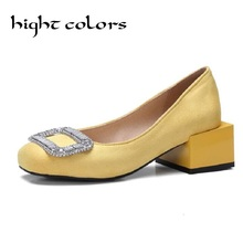Fashion Rhinestone 50mm Thick Heels Shoes Suede Women Pumps Sexy Wedding Party Shoes Med Heels Red Black Yellow Bigger Size 47