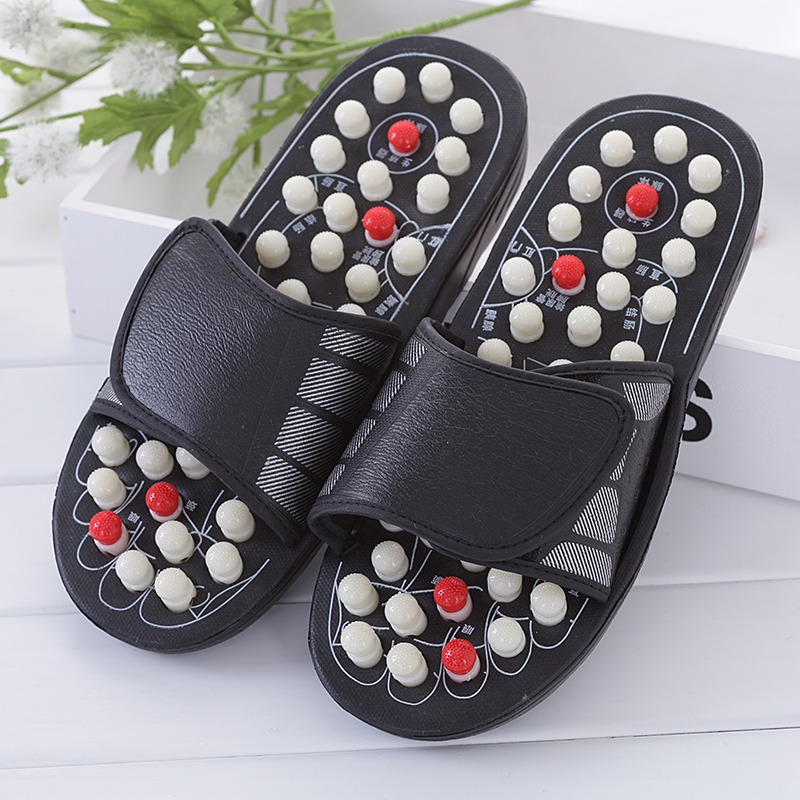 Rotating massager heads particles sandals reflexology massage acupuncture health care shoes summer slippers <br>