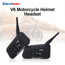 2pcs Excelvan V6 Motorcycle Helmet Bluetooth Headset 6 Riders 1200M Wireless Intercomunicador BT Interphone Motorbike Intercom(China)