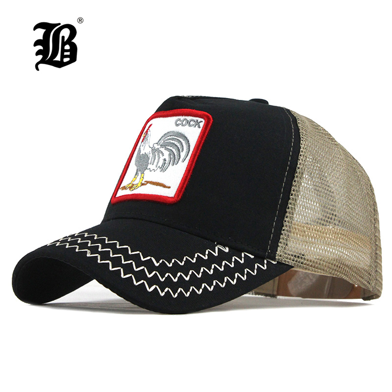 [FLB] Animals Embroidery Baseball Caps Men Women Dropshipping Snapback Hip Hop Hat Summer Breathable Mesh Sun Gorras Unisex