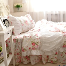 Pink rose lace ruffle princess bedding sets,girl cotton twin full queen king,pastoral home textile coverlets pillow duvet cover