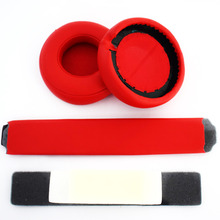 Red Headphones Replacement Headband Ear Pad Earpads Cushion Set For Beats by Dr. Dre Pro Detox Headphones