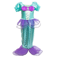 2017 Summer Baby Dress Girl Clothes Little Mermaid Fancy Kids Dresses Princess Ariel Cosplay Halloween Costume Mermaid-tail