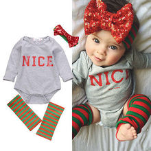 4pcs Newborn Toddler Baby Girls Kids Bodysuit Clothes Long Sleeve Nice Print Bebes Girls Bodysuits Clothes Outfits 0-18M(China)