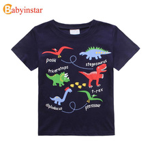 New 2017 Summer Baby Girls Boys T-Shirt Vestido Infantil Cartoon Striped Dinosaur Logo T-shirt Kids Clothes Short Sleeve T Shirt(China)