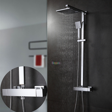 bathroom Thermostatic mixer. square head shower and hand shower. Wall mounted shower set.Thermostatic faucet