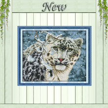 Snow leopard winter animal Counted print on canvas DMC 14CT 11CT Cross Stitch DIY Needlework kit Embroidery Sets Home wall Decor(China)