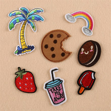Cartoon Embroidery Patches Tree Cookie Rainbow DIY Iron On Stripes Patches Clothes Appliques Sew On Motif Badge Jacket Bag TB025(China)