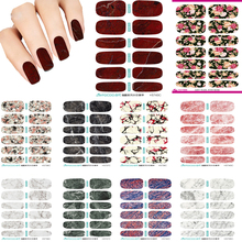Hot 10pcs Set New Water Transfer Foil Nail Art Sexy Deep Red Blood Marble Stone Mars Rock Nail Sticker Wraps Manicure Decal