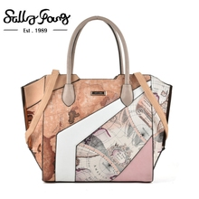 Sally Young Handbags Women Bags Brand Original Designed Patchwork Fashion Flower Prints Tote Bag Color Blocking Designer SY2127(China)