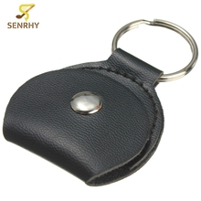 Hot Sale Black Guitar Picks Case Faux Leather Key Chain Style Guitar Bass Picks Holder Plectrums Case Bag(China)