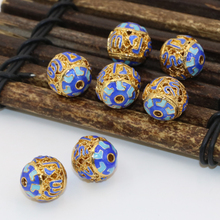 Elegant 5pcs 12mm gold-color round ball cloisonne hollow enamel accessories spacers beads high quality jewelry findings B2518