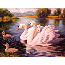 Mosaic kits Wall Decora Full Square Drill Diamond Embroidery Swans Family Look Picture 3D Diamond Painting cross-stitch x28