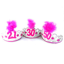 Event party sypplies Pink Birthday silver tiara 50% off if buy 3pcs pink feather hair accessories fun birthday party 21 30 40 50