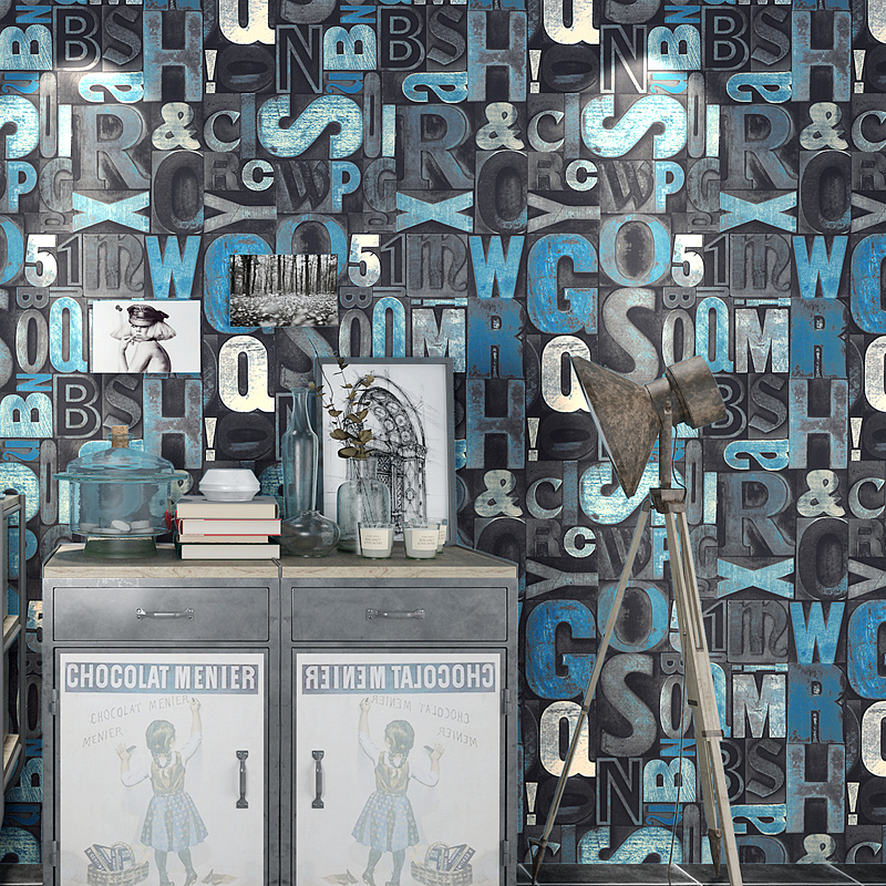 Retro Fashion 3D English Letters Wallpaper KTV Bar Restaurant Cafe Background Decoration Wall Paper PVC Waterproof Wall Covering<br>