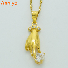 Anniyo Heart Hand pendant necklace for women gold color charms pendant hand mode fashion jewelry nice beautiful gifts