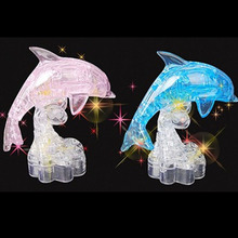 Hot Sell Blue Dolphin 3D Crystal Puzzle Building Intelligent Educational Toy Gift For Baby Children FL