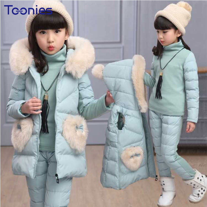 3Pcs Girls Pants Suits 2018 New Winter Girl Sportswear Cotton Thickened Children Suit Warm Cashmere Clothes Hooded Clothing Sets<br>