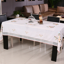 Vintage Embroidery Pastoral Floral Lace Table Cloth for Wedding / Antique Pure Cotton Tablecloth for Table TV Fridge Furnitures