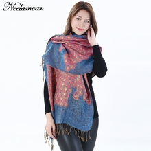 New Fashion Women Winter Wrap Scarf autumn Lady Tassel Shawl peacock Floral Designer Thick jacquard cotton scarf(China)