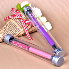 2017 New Crystal Diamond Ballpoint Pen Gift With Plastic Box Case For Wedding Christmas Girl Gift Or School Stationery