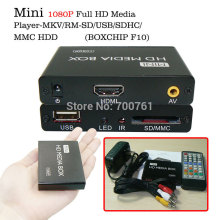 5pcs/lot Mini FULL HD 1080P Media Player with HDMI / AV / USB Host / SD / MMC Slot Hdd Media player box with IR High Quality(China)