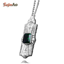 Szjinao unique custom goddess victorian 925 sterling silver green stone pendant trend valentine's day gift(China)