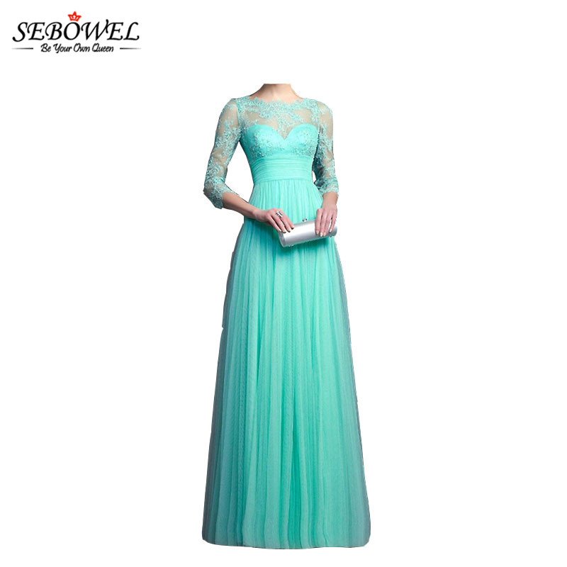 SEBOWEL 2017 New Formal Elegant Women Lace Wedding Party Dress Chiffon Maxi Long Dress Bridal Wear Ball Gown Vestidos dresses(China)
