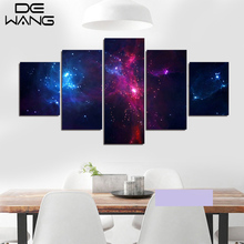 5 Piece/Set  Canvas Art Painting Galaxy Planet Universe Painting For Living Room Home Wall Decor Unframed Purple Wall Paintings
