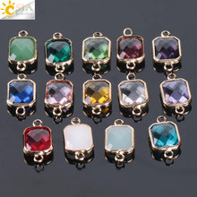 Buy CSJA Bohemian Square Crystal Glass Beads Gold Double Rings Pendant Necklace Charm Bracelets Connector Jewellery Finding E880 for $2.72 in AliExpress store