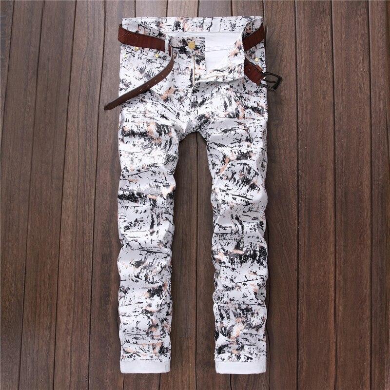 2017 Autumn New Fahsion Men Stretch Colour Printing Jeans Slim Fit White Designer Casual Pencil Biker Jean Trousers Famous BrandÎäåæäà è àêñåññóàðû<br><br>