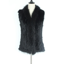 2017 NEW arrival women natural rabbit fur vest with raccoon fur collar trim knitted waistcoat for femme black color warm gilet(China)