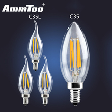 Dimmable LED Filament Candle Light Bulb E14 E12 110V 120V 2W 4W 6W C35 C35L Edison Bulb Retro Antique Vintage Lampada Led Lamp(China)