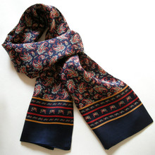 New Vintage Pure Silk Scarf Men 2015 Fashion Cashew Flowers Pattern Print Double Layer Silk Satin Neckerchiefs(China)