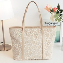 HOT korea style New Arrived leather lace handbag romantic big messenger bag factory sale +drop shipping(China)