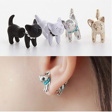 3D Pearl Cat Cute Stud Earrings Set For Women Girl Animal Piercing Jewelry White Black Gold Silver 4 Colors